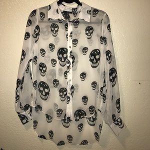 Tops - Skull sheer button down